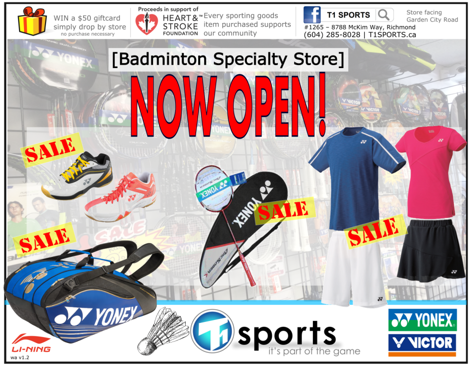 T1 SPORTS Badminton Specialty Store - Rackets, Shoes, Bags, Stringing, Apparel