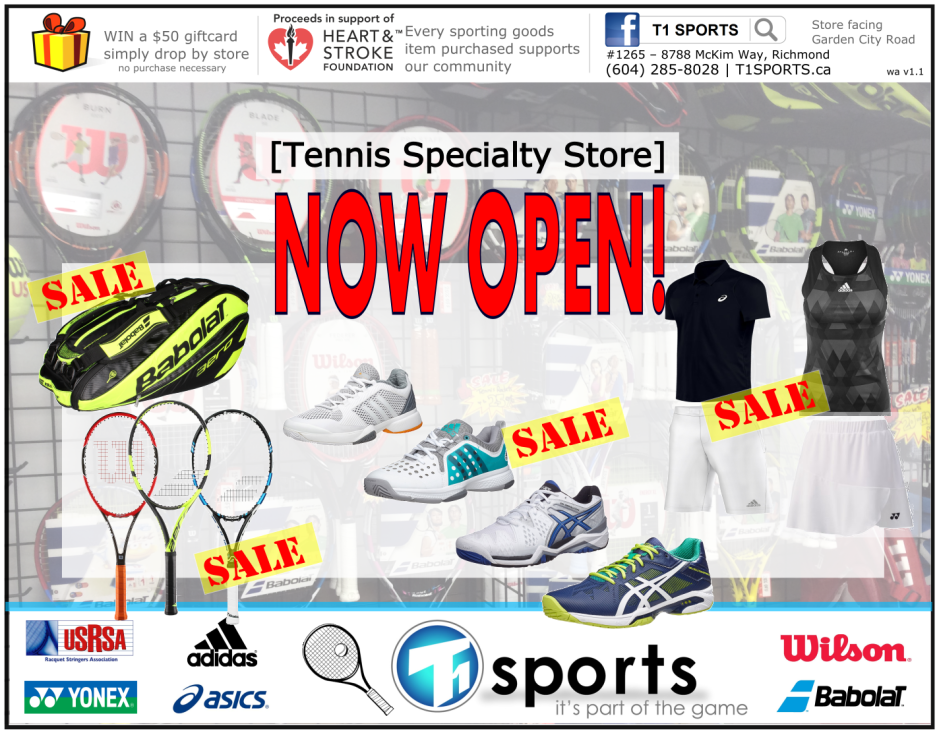 T1 SPORTS Tennis Specialty Store - Tennis Rackets, Tennis Shoes, Bags, Stringing, Apparel